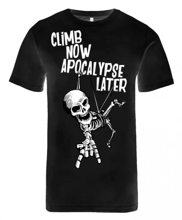 """Climb now, apocalypse later"" T-shirt - pure black"