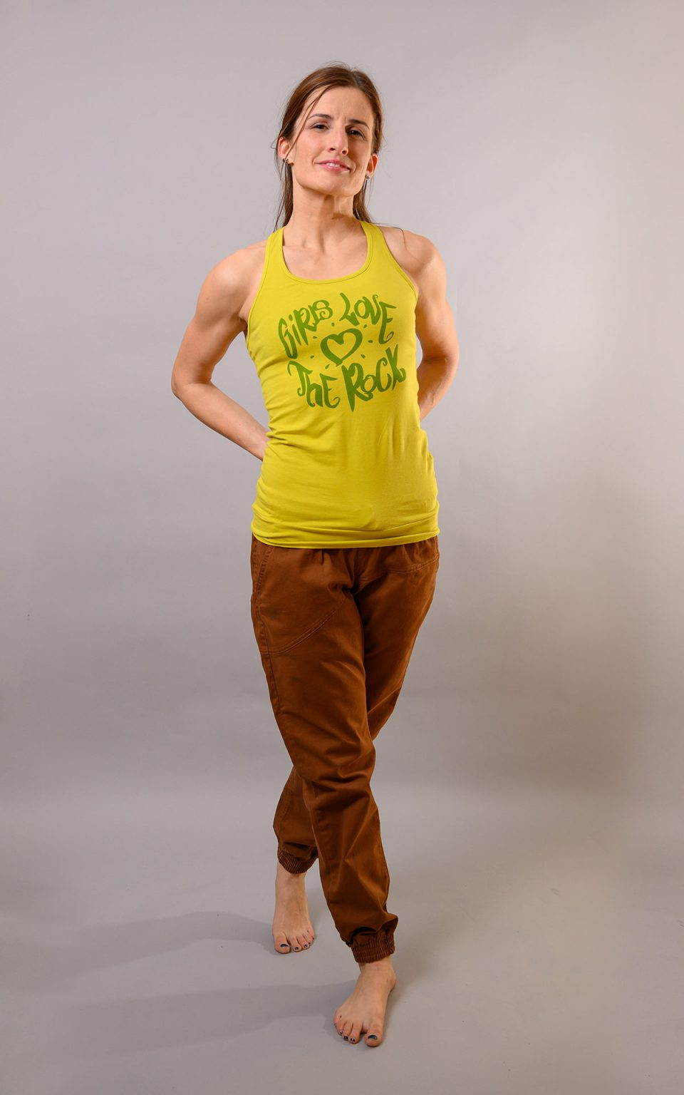 """Tank Top with graphic """"girls love the rock""""  - lime"""