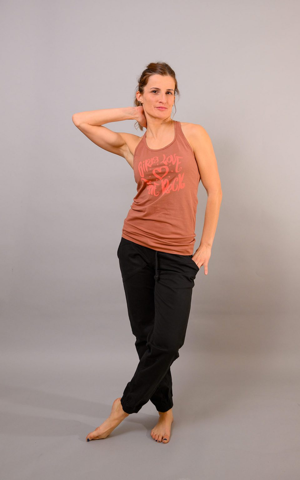 """Tank Top with print """"girls love the rock""""- toffee"""
